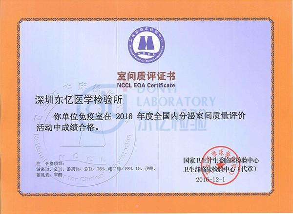 内分泌-室间质评证书